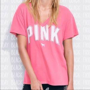 Pink victoria's Secret bling V-neck T-shirt